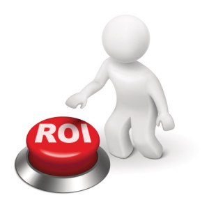 3d man with roi (return on investment) button